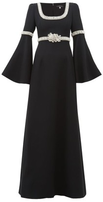 Andrew Gn Flare Sleeve Crystal-embellished Crepe Gown - Womens - Black