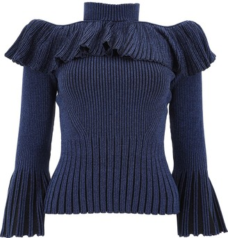 Self-Portrait Frill Trim Cold-Shoulder Sweater
