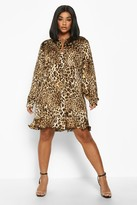 boohoo Plus Leopard Print Ruffle Hem Shirt Dress