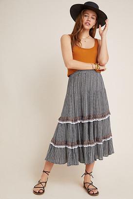 Jocelyn Beachgold Tiered Midi Skirt By Beachgold in Black Size XS
