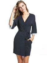 Ekouaer Kimono Robes Womens Comfy Nightwear Sleepwear Short Style (Navy Dot,)
