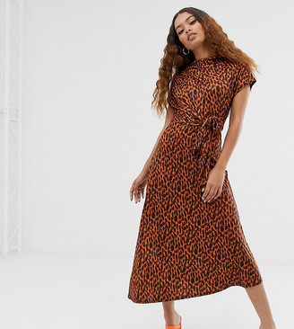 ASOS DESIGN Petite cowl neck tie waist midi dress in tortoiseshell print