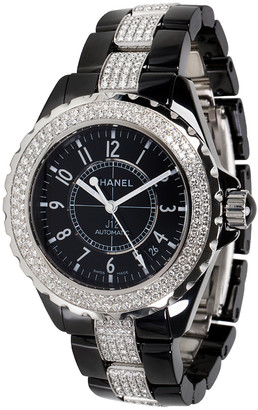 Chanel Black Ceramic Diamond J12 H1339 Women's Wristwatch 38MM