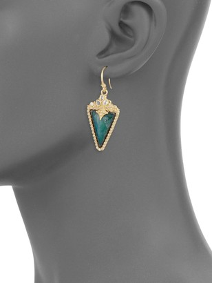 Armenta Old World Diamond, Sapphire, Malachite, Rainbow Moonstone, 18K Yellow Gold & Sterling Silver Earrings
