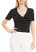 Vince Camuto Short Sleeve Fine Line Stripe V-Neck Wrap Bodysuit