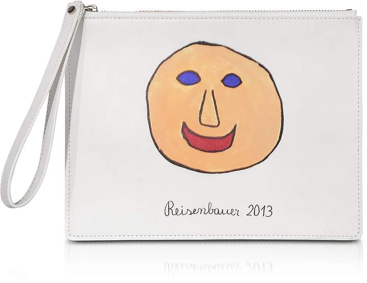 Christopher Kane Gugging Smile Art White Leather Clutch