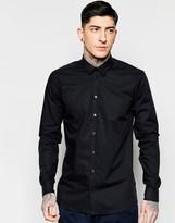 Minimum Smart Shirt In Stretch Cotton In Black In Slim Fit