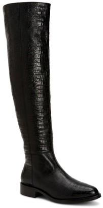 Aquatalia Nahla Over-The-Knee Croc-Embossed Leather Boots