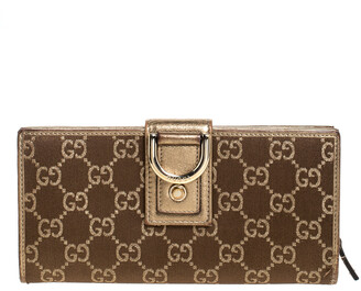 Gucci Gold/Bronze GG Canvas and Leather D Ring Continental Wallet