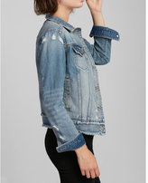 Express distressed frayed denim trucker jacket