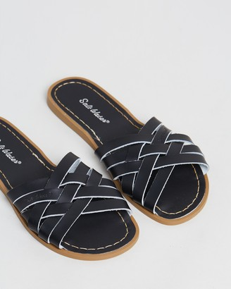 Saltwater Sandals - Women's Black Flat Sandals - Womens Retro Slides - Size 4 at The Iconic