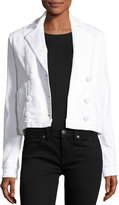 Frame Double-Breasted Denim Crop Jacket, Blanc
