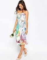 Asos WEDDING Bandeau Midi Pencil Dress With Crop Jacket In Floral Print