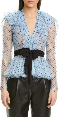 Philosophy di Lorenzo Serafini Ruffle Neck Flocked Dot Lace Blouse