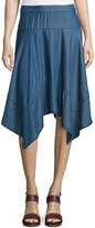 Neiman Marcus Handkerchief-Hem Chambray Skirt, Dark Blue
