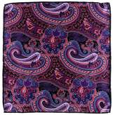 Black Viverone Paisley Silk Satin Italian Pocket Square