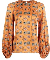 Phoebe Grace Georgie Balloon Sleeve Top in Orange Poppy Print