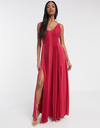 ASOS DESIGN cup detail chiffon overlay pleated maxi dress
