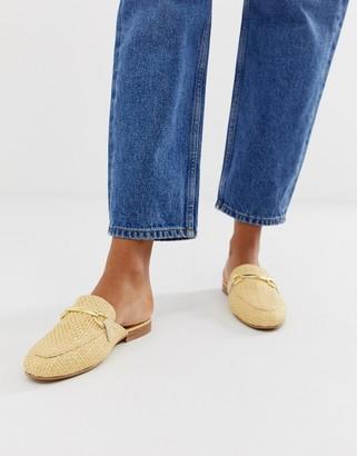 Asos Design DESIGN Moves mule loafers in natural weave-Beige