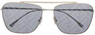 Fendi Eyewear Logo Lenses Aviator Sunglasses