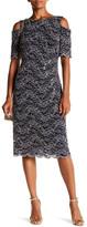R & M Richards R&M Richards Cold Shoulder Mesh & Embroidery Dress