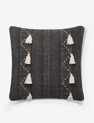 ED Ellen Degeneres Lulu And GeorgiaLulu & Georgia Pantina Pillow, Charcoal and Natural, Crafted by Loloi