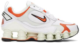 Nike White and Orange Shox TL Nova Sneakers