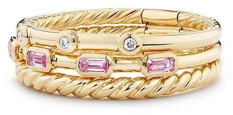 David Yurman Novella Three-Row Ring in Pink Sapphire with Diamonds