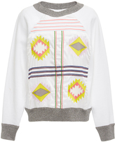 Cynthia Rowley White Aztec Embroidered Sweatshirt