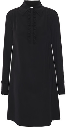 McQ Ruffle-trimmed Silk Crepe De Chine Mini Shirt Dress
