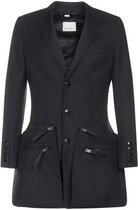 Burberry Zip Panel Twill Wool Blazer