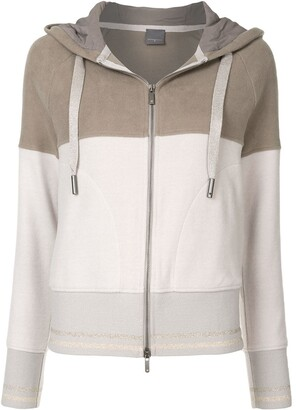 Lorena Antoniazzi Colour-Block Cotton Hooded Jacket