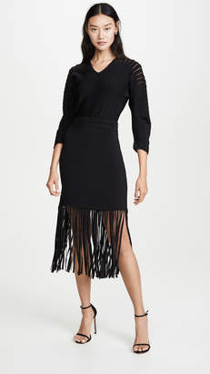 Yigal Azrouel Fringe Hem Dress