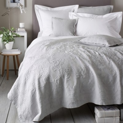 The White Company Vintage Etienne Bedspread, Grey, King