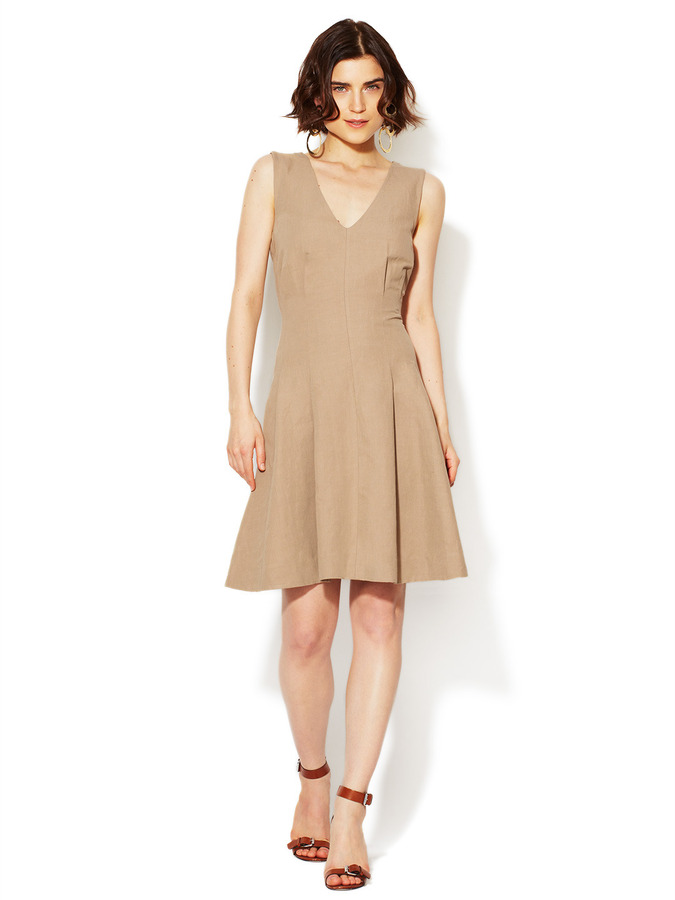 Marni Linen Inverted Pleat Dress