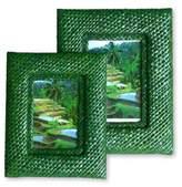 Pandanus photo frames (Pair), 'Natural in Green'