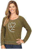 Life is Good Love Heart Marled Terry Crew