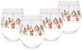 Culver 22K Gold Present Bulb Stemless Wine Glass - Set of 4