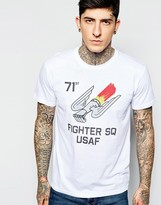 Alpha Industries X Present T-shirt With Us Fighter Squadron Print - White