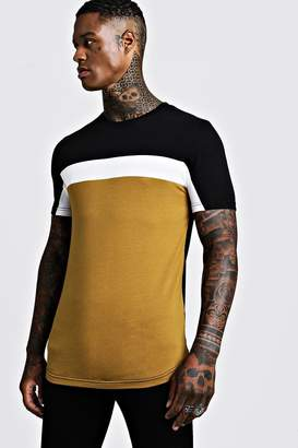 boohoo Colour Block Muscle Fit T-Shirt