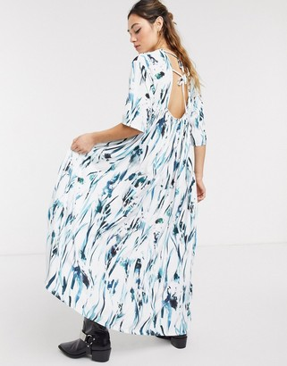Another Reason maxi smock dress in brush stroke print