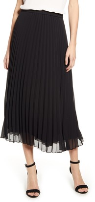 Anne Klein Pleated Georgette Midi Skirt
