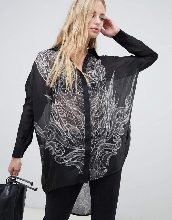 Religion long sleeve high low loose fitted shirt with skull back-Black