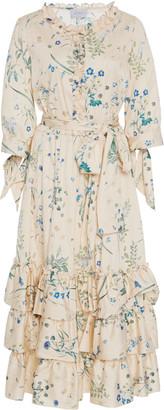 Luisa Beccaria Ruffled Floral-Print Cotton-Blend Midi Dress