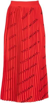 Balenciaga Logo Pleated Knit Skirt