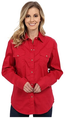 Roper L/S Solid Basic Snap Front (Red) Women's Long Sleeve Button Up