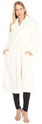 Apparis Mona Faux Fur Robe Coat (Ivory) Women's Clothing