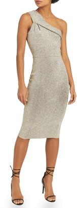 Reiss Lordes Metallic One-Shoulder Knit Sheath Dress