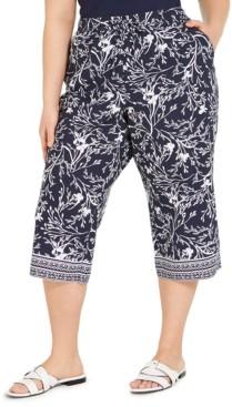 Karen Scott Plus Size Printed Border Capri Pants, Created for Macy's