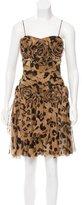 Blumarine Leopard Print Silk Dress